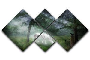 Unicorn in a magical forest 4 Square Multi Panel Canvas  - Canvas Art Rocks - 1
