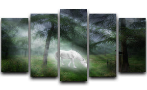 Unicorn in a magical forest 5 Split Panel Canvas  - Canvas Art Rocks - 1