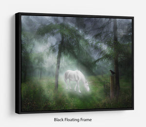 Unicorn in a magical forest Floating Frame Canvas