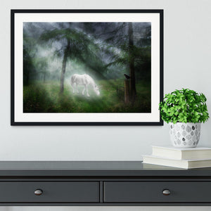 Unicorn in a magical forest Framed Print - Canvas Art Rocks - 1