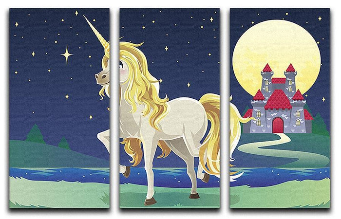 Unicorn outside of a castle 3 Split Panel Canvas Print