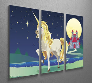 Unicorn outside of a castle 3 Split Panel Canvas Print - Canvas Art Rocks - 2