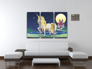 Unicorn outside of a castle 3 Split Panel Canvas Print - Canvas Art Rocks - 3