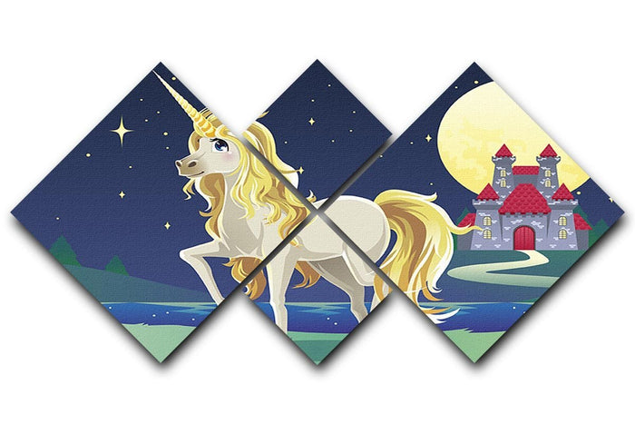 Unicorn outside of a castle 4 Square Multi Panel Canvas