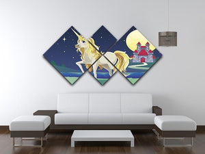 Unicorn outside of a castle 4 Square Multi Panel Canvas  - Canvas Art Rocks - 3
