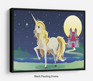 Unicorn outside of a castle Floating Frame Canvas