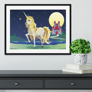 Unicorn outside of a castle Framed Print - Canvas Art Rocks - 1