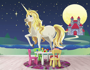 Unicorn outside of a castle Wall Mural Wallpaper - Canvas Art Rocks - 2