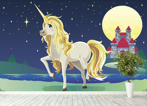 Unicorn outside of a castle Wall Mural Wallpaper - Canvas Art Rocks - 4