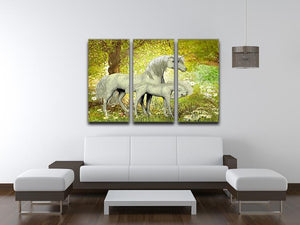 Unicorns and White Daisies 3 Split Panel Canvas Print - Canvas Art Rocks - 3