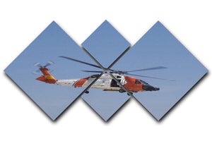 United States Coast Guard helicopter 4 Square Multi Panel Canvas  - Canvas Art Rocks - 1