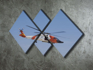 United States Coast Guard helicopter 4 Square Multi Panel Canvas  - Canvas Art Rocks - 2