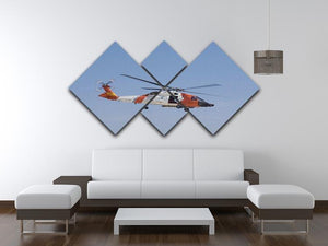 United States Coast Guard helicopter 4 Square Multi Panel Canvas  - Canvas Art Rocks - 3