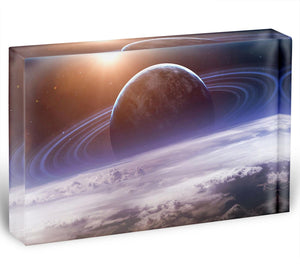 Universe scene with planets Acrylic Block - Canvas Art Rocks - 1