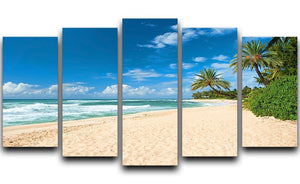 Untouched sandy beach with palms trees 5 Split Panel Canvas - Canvas Art Rocks - 1