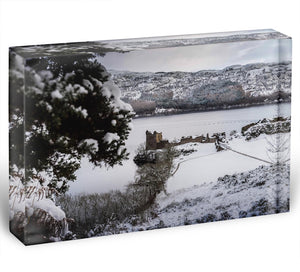 Urquhart Castle in the snow Acrylic Block - Canvas Art Rocks - 1