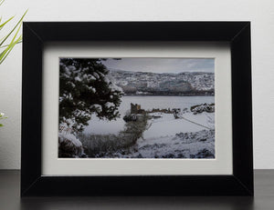 Urquhart Castle in the snow Framed Print - Canvas Art Rocks - 1