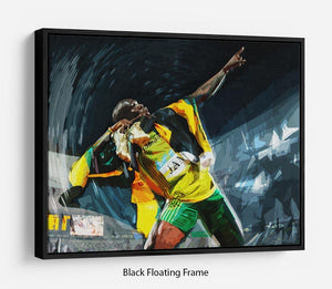 Usian Bolt Iconic Pose Floating Frame Canvas