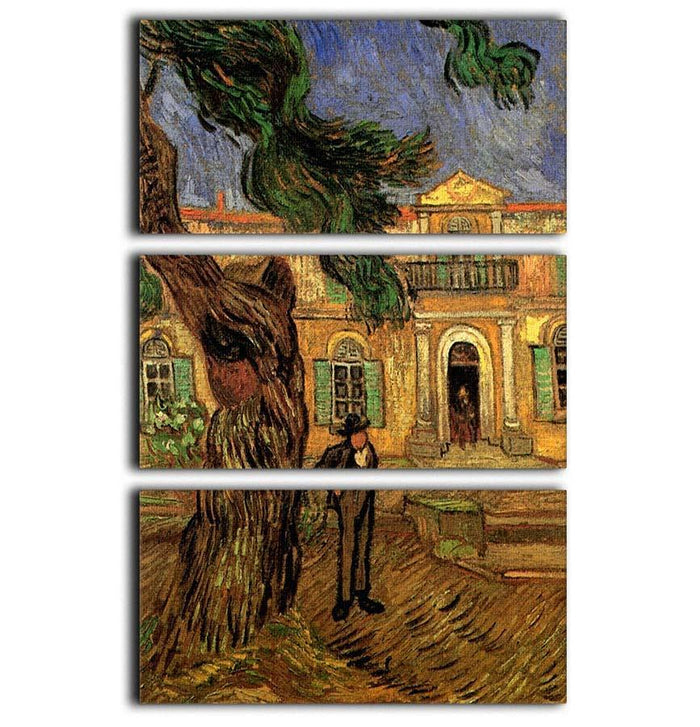 Van Gogh Pine Trees with Figure in the Garden of Saint-Paul Hospital 3 Split Panel Canvas Print
