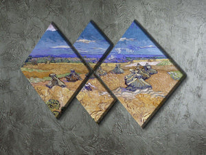 Van Gogh Wheat Fields with Reaper at Auvers 4 Square Multi Panel Canvas - Canvas Art Rocks - 2