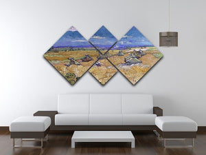 Van Gogh Wheat Fields with Reaper at Auvers 4 Square Multi Panel Canvas - Canvas Art Rocks - 3