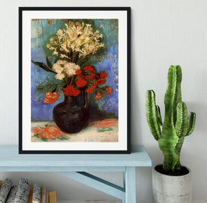 Vase with Carnations and Other Flowers by Van Gogh Framed Print - Canvas Art Rocks - 1