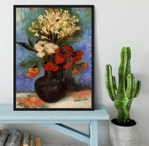 Vase with Carnations and Other Flowers by Van Gogh Framed Print - Canvas Art Rocks - 2