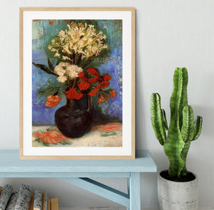 Vase with Carnations and Other Flowers by Van Gogh Framed Print - Canvas Art Rocks - 3