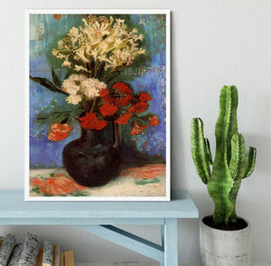 Vase with Carnations and Other Flowers by Van Gogh Framed Print - Canvas Art Rocks -6