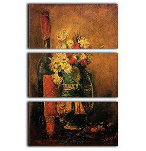 Vase with Carnations and Roses and a Bottle by Van Gogh 3 Split Panel Canvas Print - Canvas Art Rocks - 1