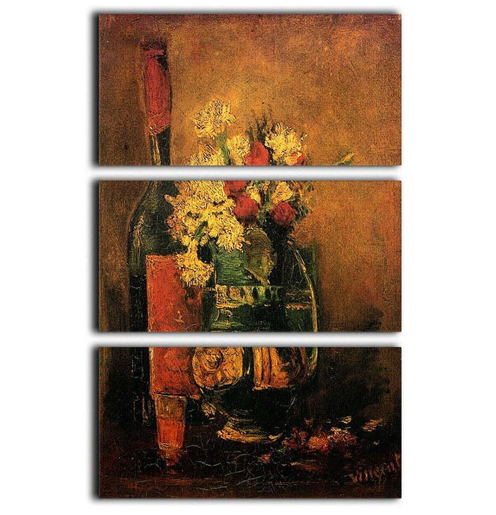 Vase with Carnations and Roses and a Bottle by Van Gogh 3 Split Panel Canvas Print