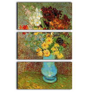 Vase with Daisies and Anemones by Van Gogh 3 Split Panel Canvas Print - Canvas Art Rocks - 1