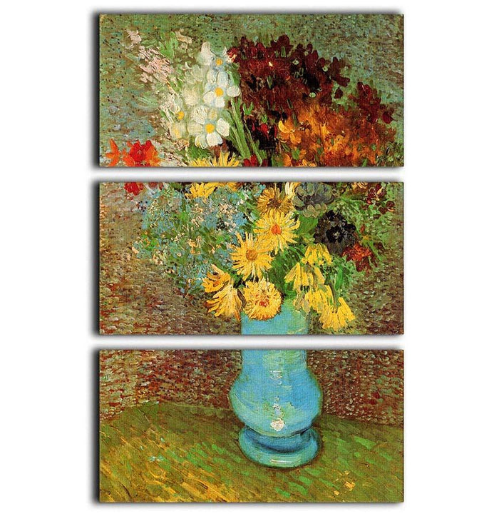 Vase with Daisies and Anemones by Van Gogh 3 Split Panel Canvas Print