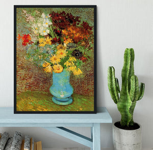 Vase with Daisies and Anemones by Van Gogh Framed Print - Canvas Art Rocks - 2