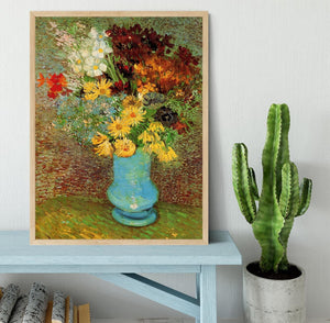 Vase with Daisies and Anemones by Van Gogh Framed Print - Canvas Art Rocks - 4