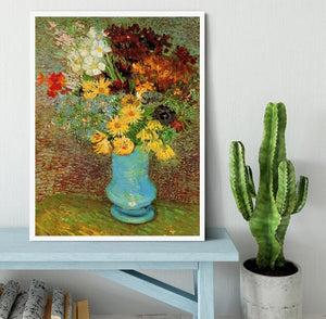 Vase with Daisies and Anemones by Van Gogh Framed Print - Canvas Art Rocks -6