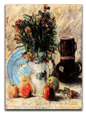 Vase with Flowers Coffeepot and Fruit by Van Gogh Canvas Print & Poster  - Canvas Art Rocks - 1