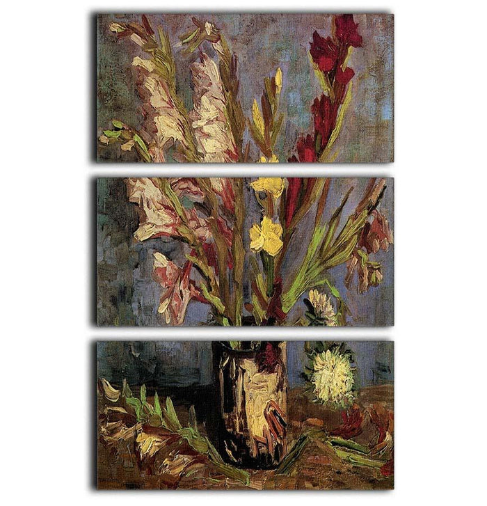 Vase with Gladioli 4 by Van Gogh 3 Split Panel Canvas Print