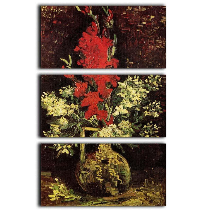 Vase with Gladioli and Carnations by Van Gogh 3 Split Panel Canvas Print
