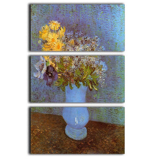 Vase with Lilacs Daisies and Anemones by Van Gogh 3 Split Panel Canvas Print - Canvas Art Rocks - 1