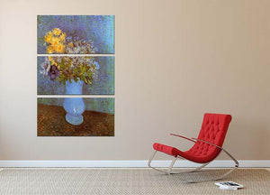 Vase with Lilacs Daisies and Anemones by Van Gogh 3 Split Panel Canvas Print - Canvas Art Rocks - 2