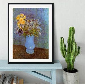 Vase with Lilacs Daisies and Anemones by Van Gogh Framed Print - Canvas Art Rocks - 1