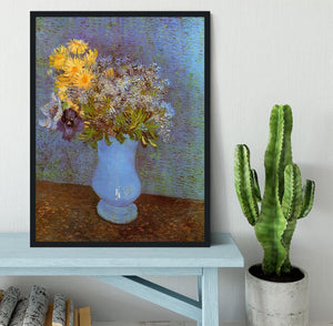 Vase with Lilacs Daisies and Anemones by Van Gogh Framed Print - Canvas Art Rocks - 2