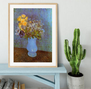 Vase with Lilacs Daisies and Anemones by Van Gogh Framed Print - Canvas Art Rocks - 3