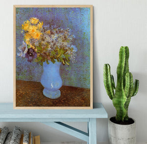 Vase with Lilacs Daisies and Anemones by Van Gogh Framed Print - Canvas Art Rocks - 4