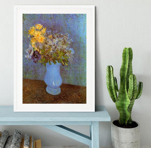 Vase with Lilacs Daisies and Anemones by Van Gogh Framed Print - Canvas Art Rocks - 5