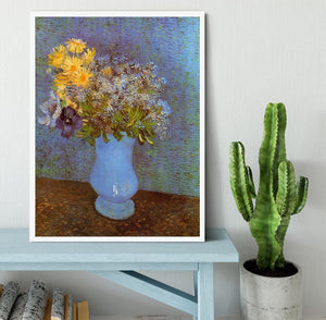Vase with Lilacs Daisies and Anemones by Van Gogh Framed Print - Canvas Art Rocks -6