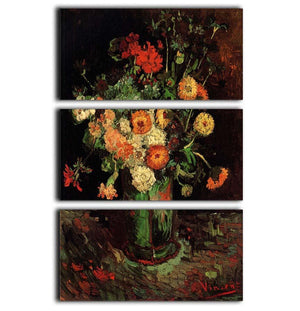 Vase with Zinnias and Geraniums by Van Gogh 3 Split Panel Canvas Print - Canvas Art Rocks - 1