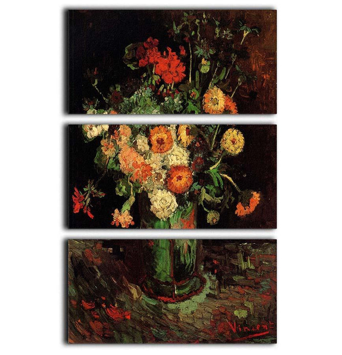 Vase with Zinnias and Geraniums by Van Gogh 3 Split Panel Canvas Print