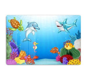 Vector illustration of Cartoon tropical fish HD Metal Print